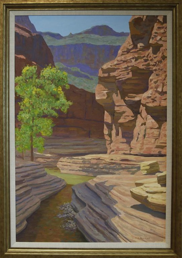 "Red Rock Pool, Frank Ray Huff, 36"" x 48,"" oil on canvas, 2009"